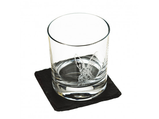 Etched Hare Tumbler With Slate Coaster