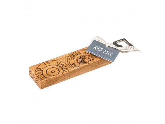 Etched Cartridge Oak Bottle Opener