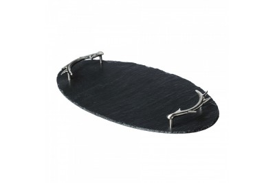 Just Slate Oval Slate Tray with Antler Handles
