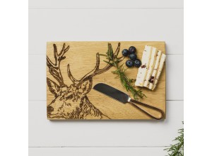 Just Slate Stag Oak Cheese Board & Knife Set