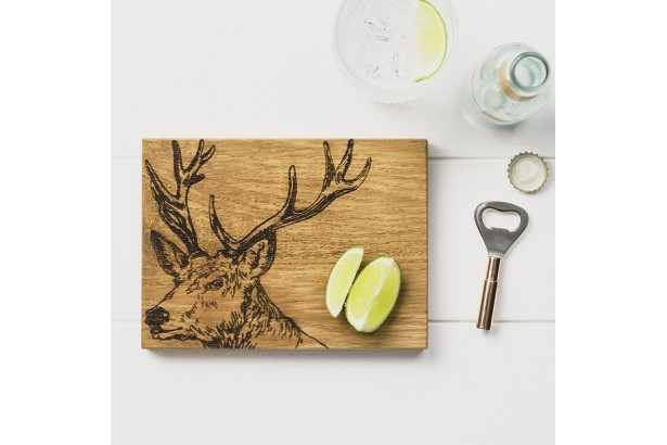 Just Slate Stag Oak Cutting Board & Bottle Opener Set