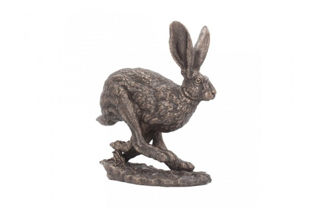 Bronzed Hare Sculpture - Flight