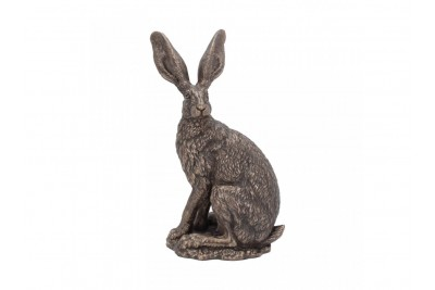 Bronzed Hare Sculpture - 'Sit Tight'