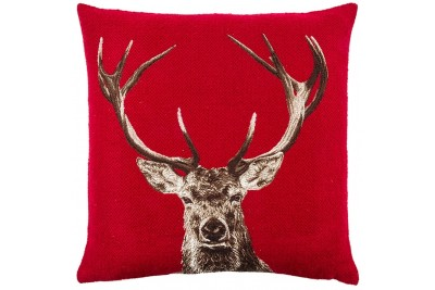 Stately Stag Woven Cushion - Red