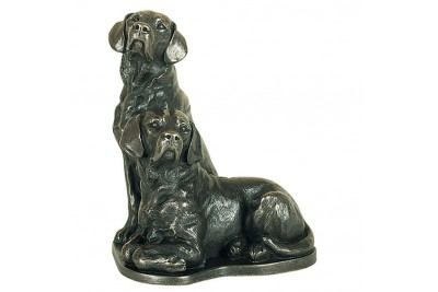 Pair Of Labradors Bronze Ornament