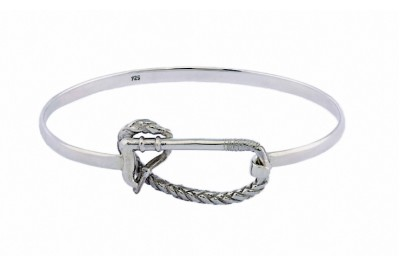 Hiho Sterling Silver Riding Whip Bangle