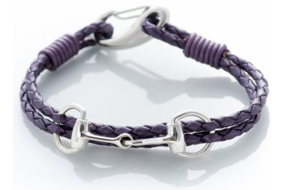 Hiho Exclusive Equestrian Sterling Silver Snaffle Leather Bracelet