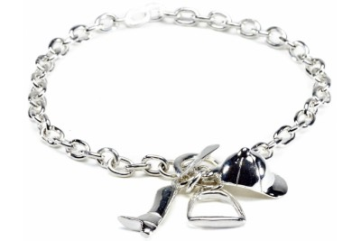 Hiho Sterling Silver Fob Bracelet With Equestrian Charms