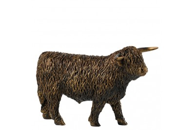 Bronzed Highland Bull Walking