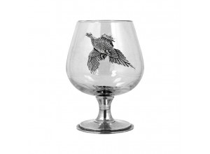 English Pewter Company Pheasant Brandy Glass