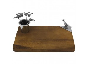 English Pewter Company Pheasant Cheese Board And Cocktail Picks