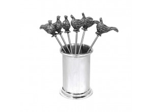 English Pewter Company Pheasant Olive And Cocktail Picks
