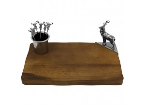 English Pewter Company Stag Cheeseboard And Pick Holder