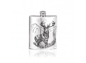 English Pewter Company Pewter Stag Hip Flask