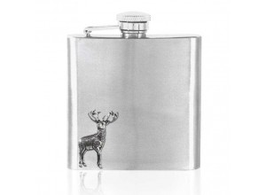 English Pewter Company Stainless Steel Stag Hip Flask