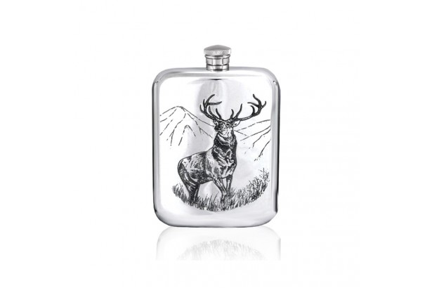 English Pewter Company Pewter Stamped Stag Hip Flask