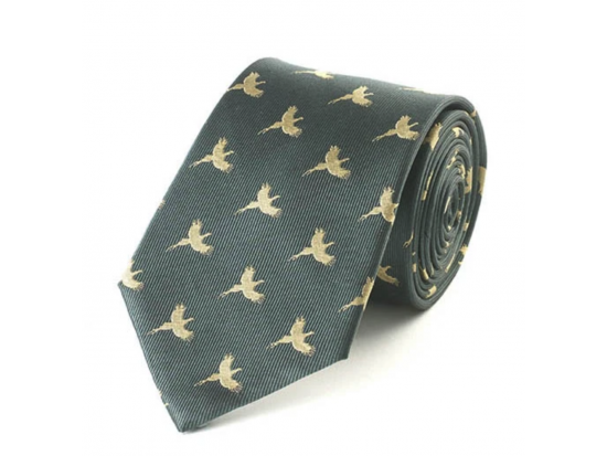 Green & Gold Pheasant Silk Tie