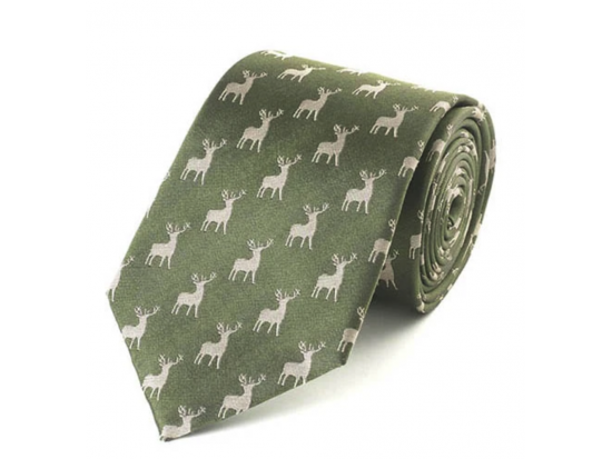 Green & Gold Stag Silk Tie