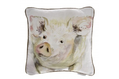 Mr Piggy White Cushion