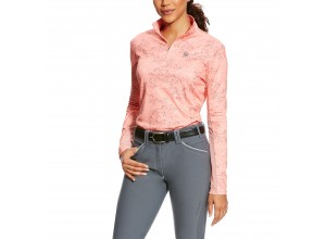 Ariat Women's Sunstopper 1/4 Zip Top (Peach Twig Print)