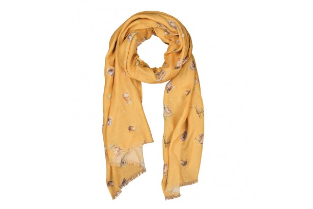 Wrendale Mustard 'Leaping Hare' Scarf