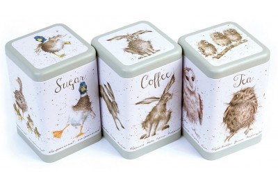 Wrendale Tea, Coffee And Sugar Tin Set