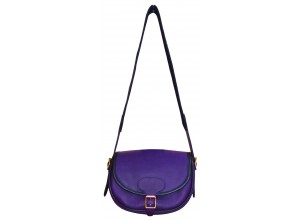 Purple Leather Traditional Cartridge Bag