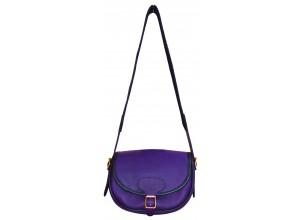 Purple Leather Traditional Cartridge Bag